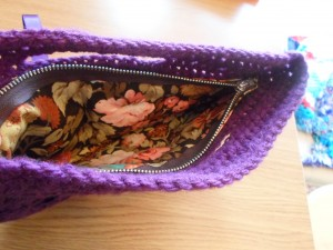 Purple bag, floral lining