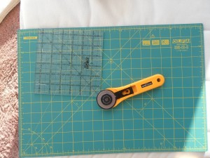 Rotary cutter, mat and ruler