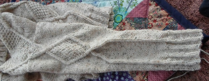 Diamond Cable Aran Jumper – Work in progress
