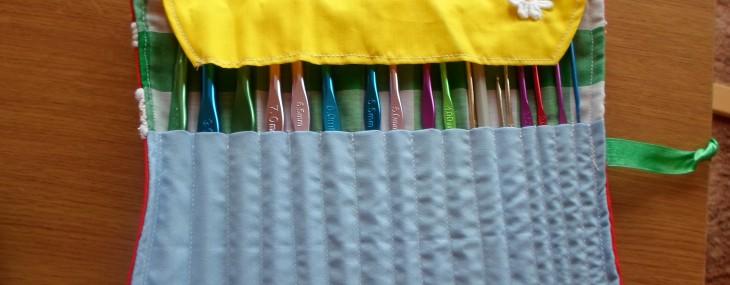 Inside Bright Crochet Hook Roll