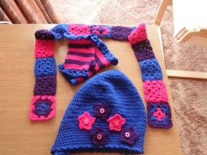 matching hat, scarf and wrist warmers set